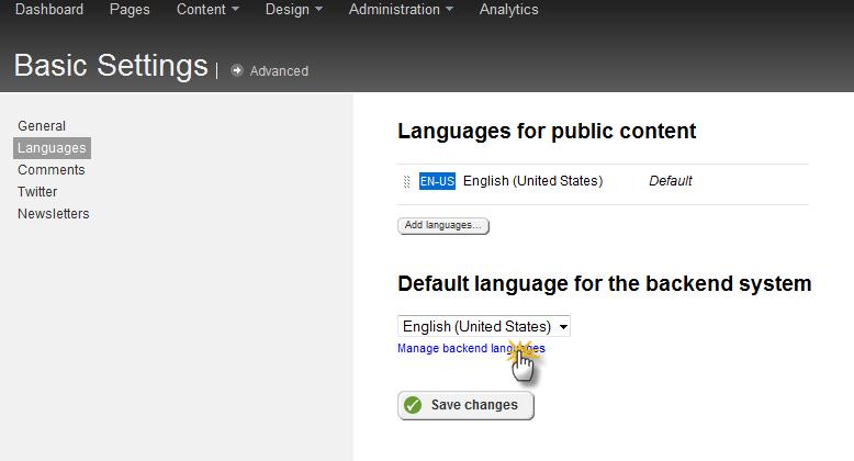 settings -> manage backend languages