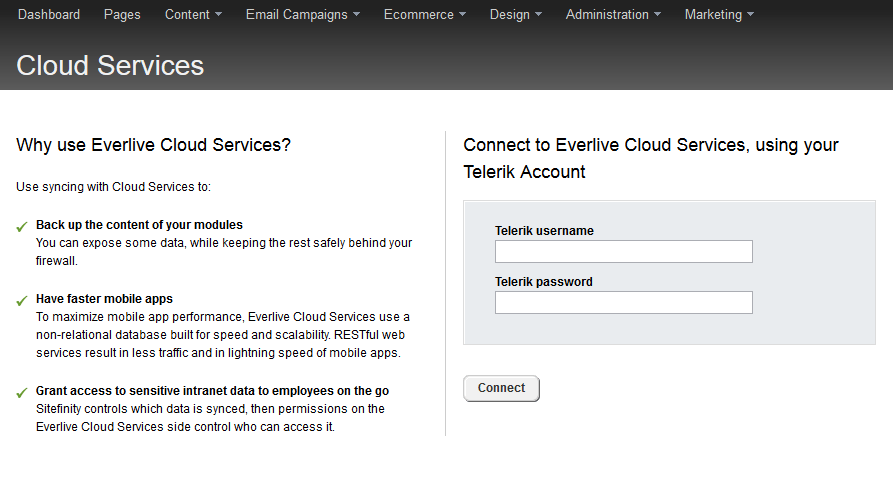 Sitefinity Cloud Services