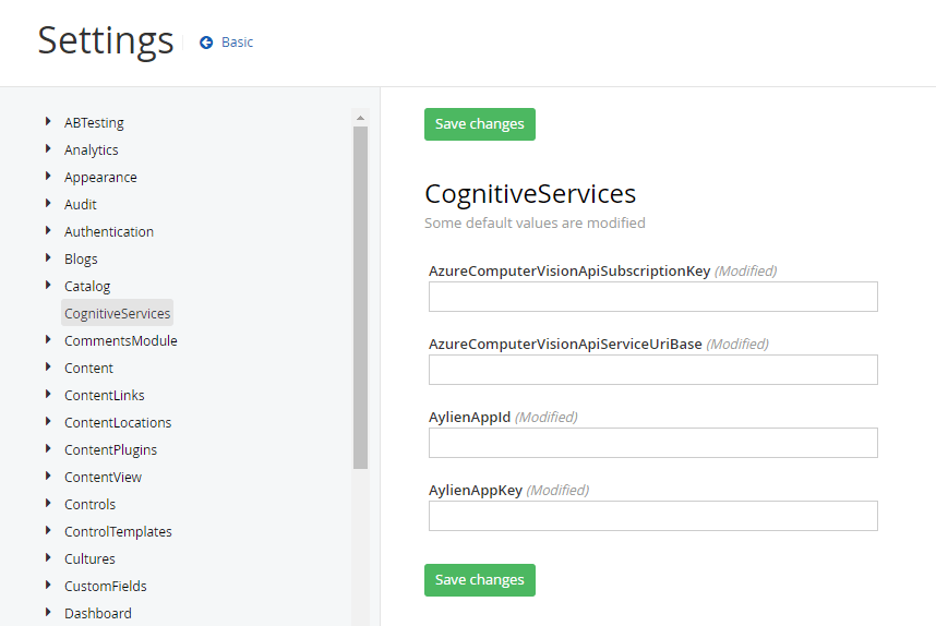 Sitefinity CognitiveServices Settings