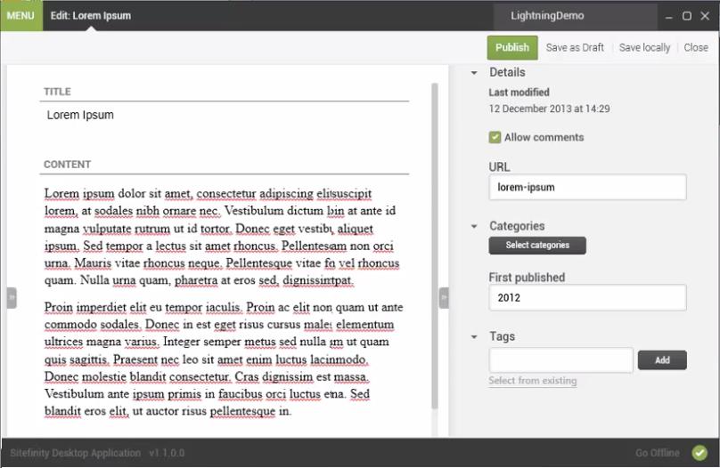 Sitefinity Desktop Application Edit Screens