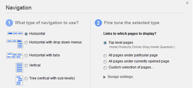 Sitefinity Navigation Widget Options