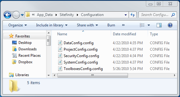 Sitefinity 4.0's Configuration Directory