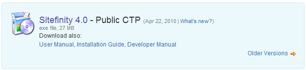 Sitefinity 4.0 CTP Download