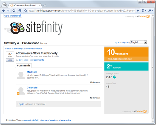 E-commerce suggestion on Sitefinity UserVoice
