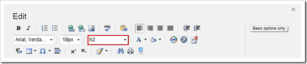 Sitefinity's FormatBlock dropdown in the More Features section