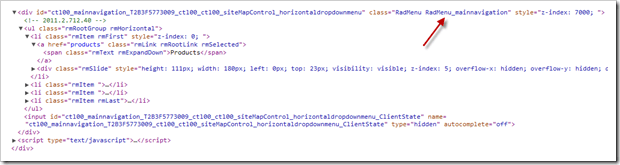 Custom Skin class applied to the HTML rendered by the Sitefinity Navigation control