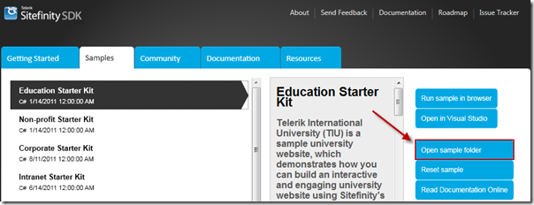 Education Starter Kit in the Sitefinity SDK