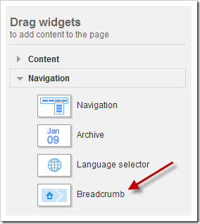 Navigation section - under this section Navigation, Archive, Language Selector and Breadcrumb