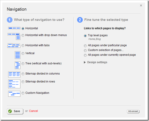 Sitefinity's built-in Navigation Widget