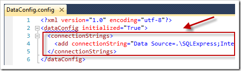 The connectionString section in Sitefinity's DataConfig.config