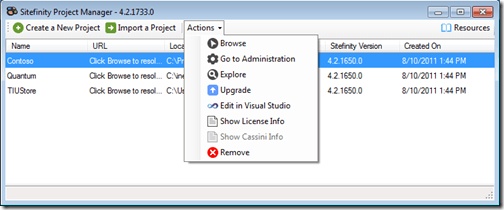 New Import and Actions in Sitefinity's Project Manager