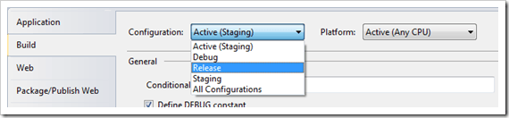 Switching to a different configuration in Visual Studio