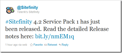 @Sitefinity announcing through Twitter the 4.2 SP1 release