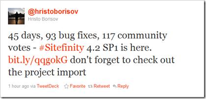 Hristo Borisov tweeting about Sitefinity 4.2 SP1