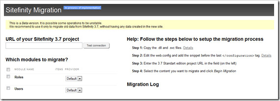 The Sitefinity 4.2 Migration Tool