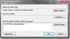 select-application-pool-user