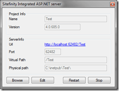 Sitefinity Project Manager Integrated Server Status