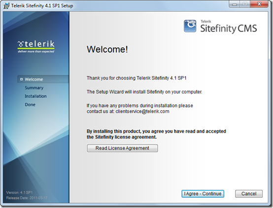 Sitefinity 4.1 SP1 Installer