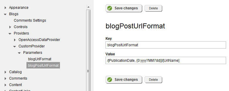 Custom URL Formats for Sitefinity Content Modules