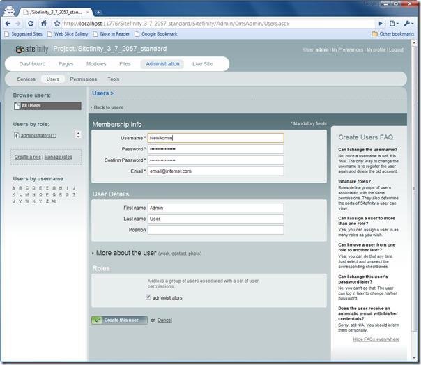 Renaming Sitefinity's Admin Account