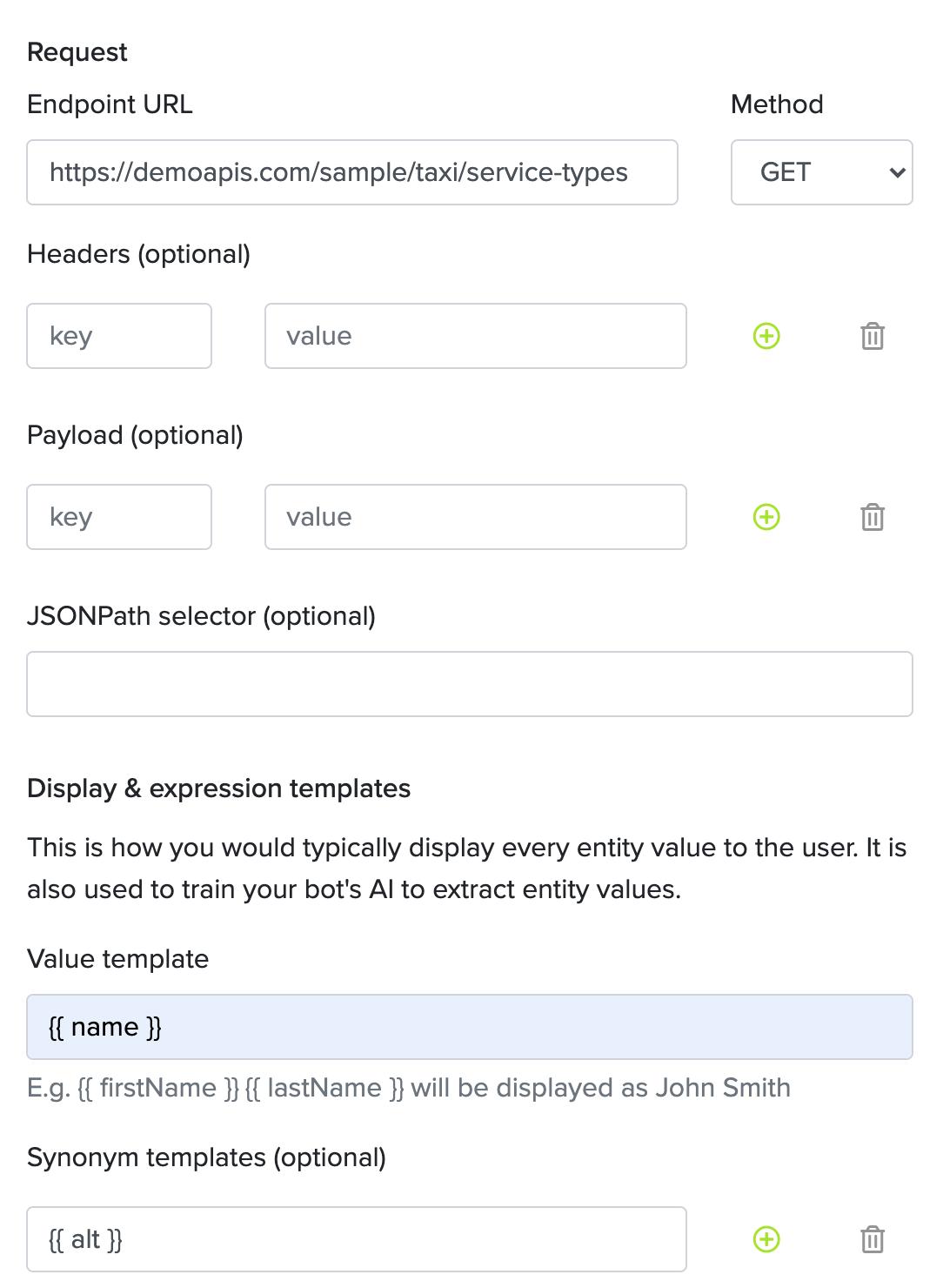 Entity Add Service Type