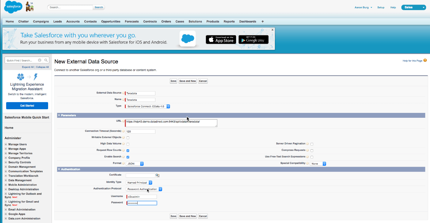 Salesforce Connect OData