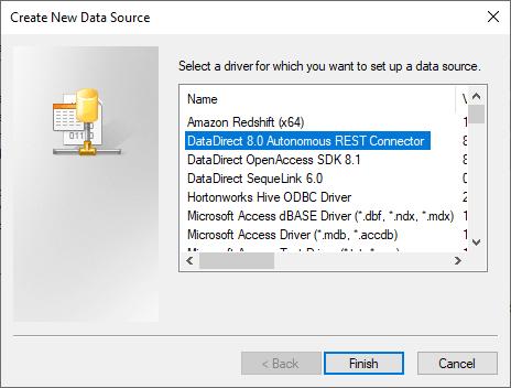 ODBC Administrator - Choose Autonomous REST Driver
