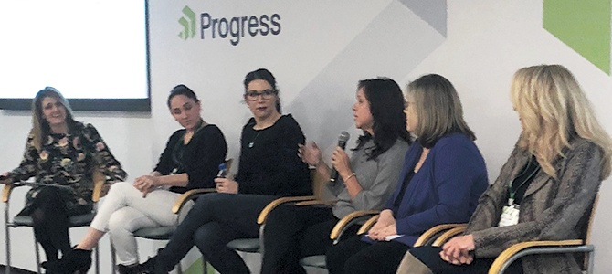 Progress VP of Marketing Jennifer Ortiz leads a panel discussion