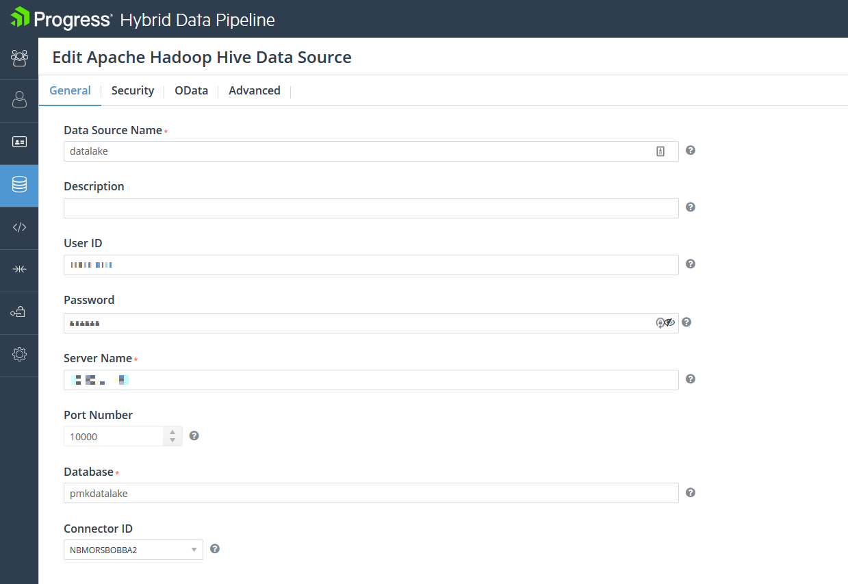 Edit data source configuration