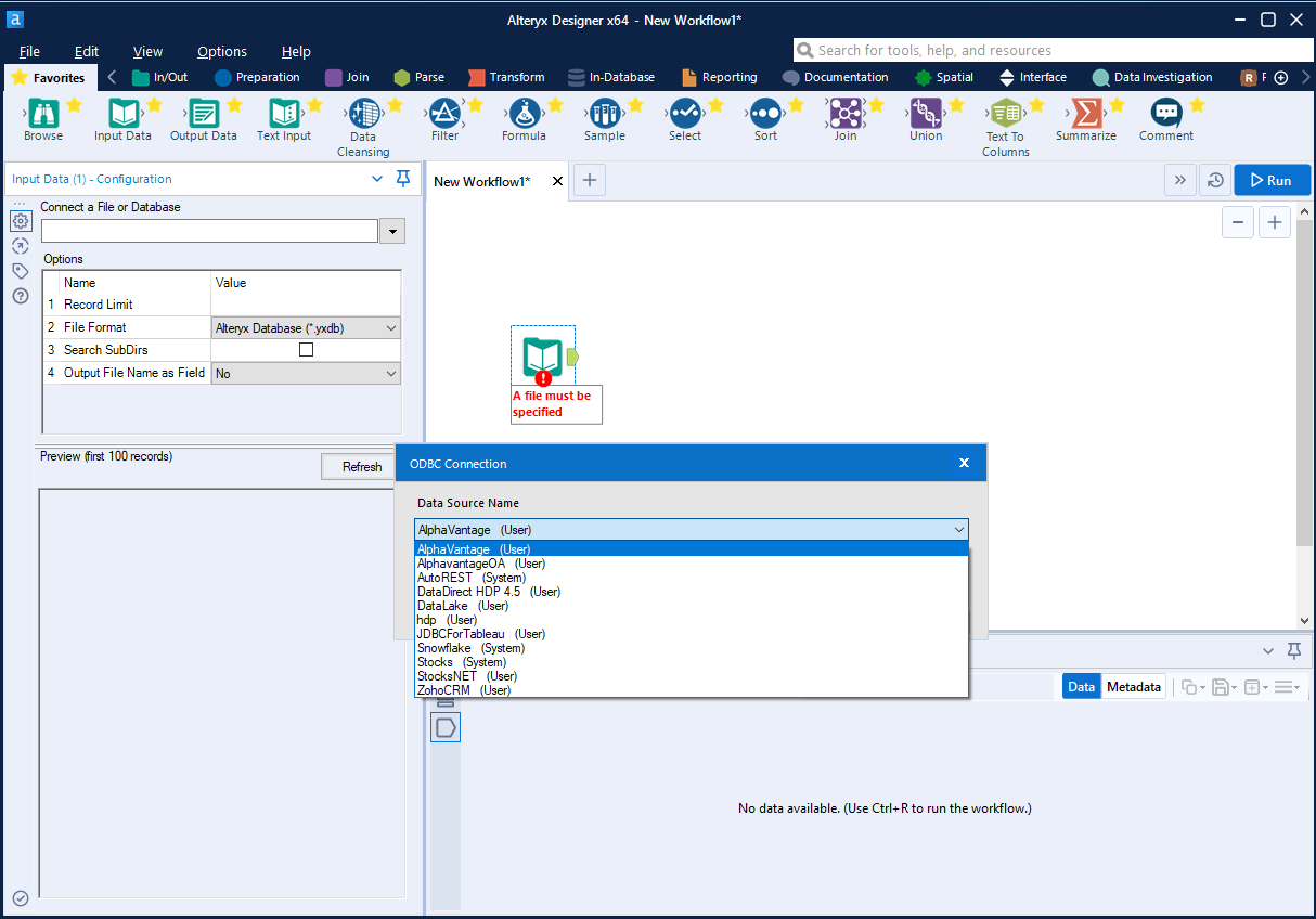 Choose DSN in Alteryx