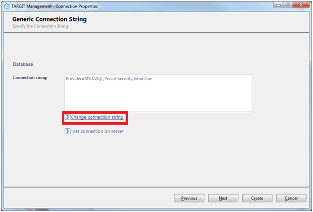 "To generate the ODBC connection string using the ODBC DSN we created earlier, select ""Change connection string""."