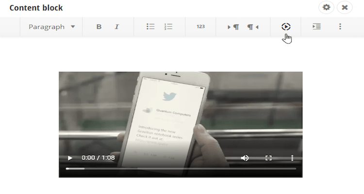 Insert Video Rich Text Editor Extension Sitefinity
