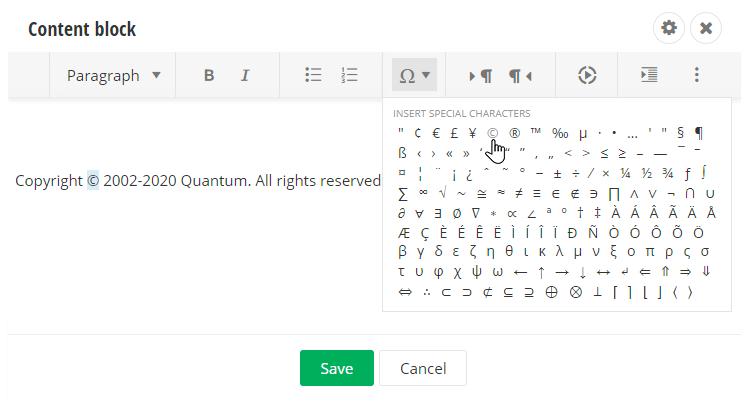Insert Symbol Rich Text Editor Sitefinity
