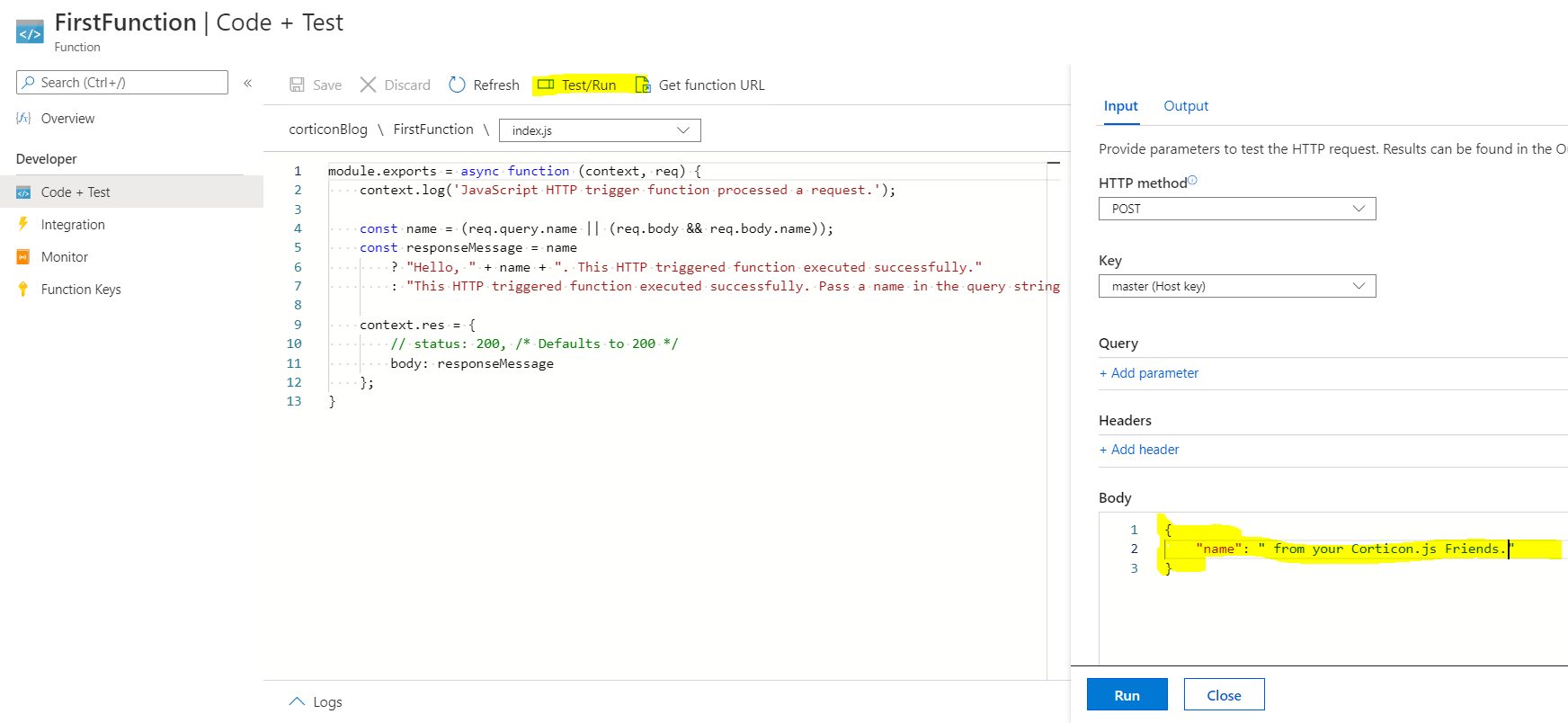 code and test