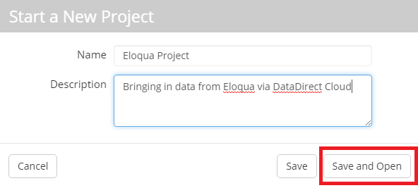 Add Project Name and click 'Save and Open'