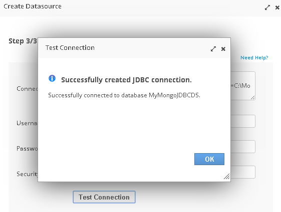Click on the Test Connection button
