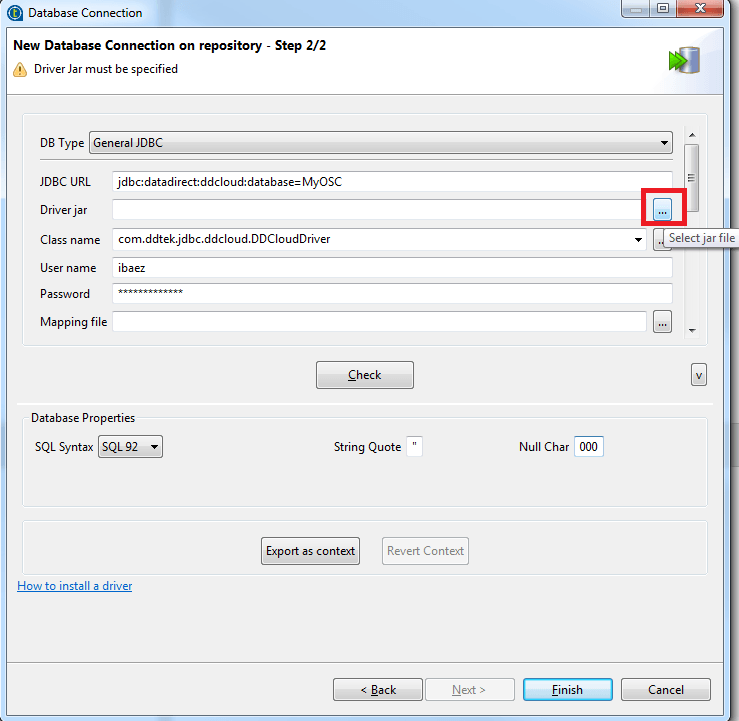 Complete the Database Connection