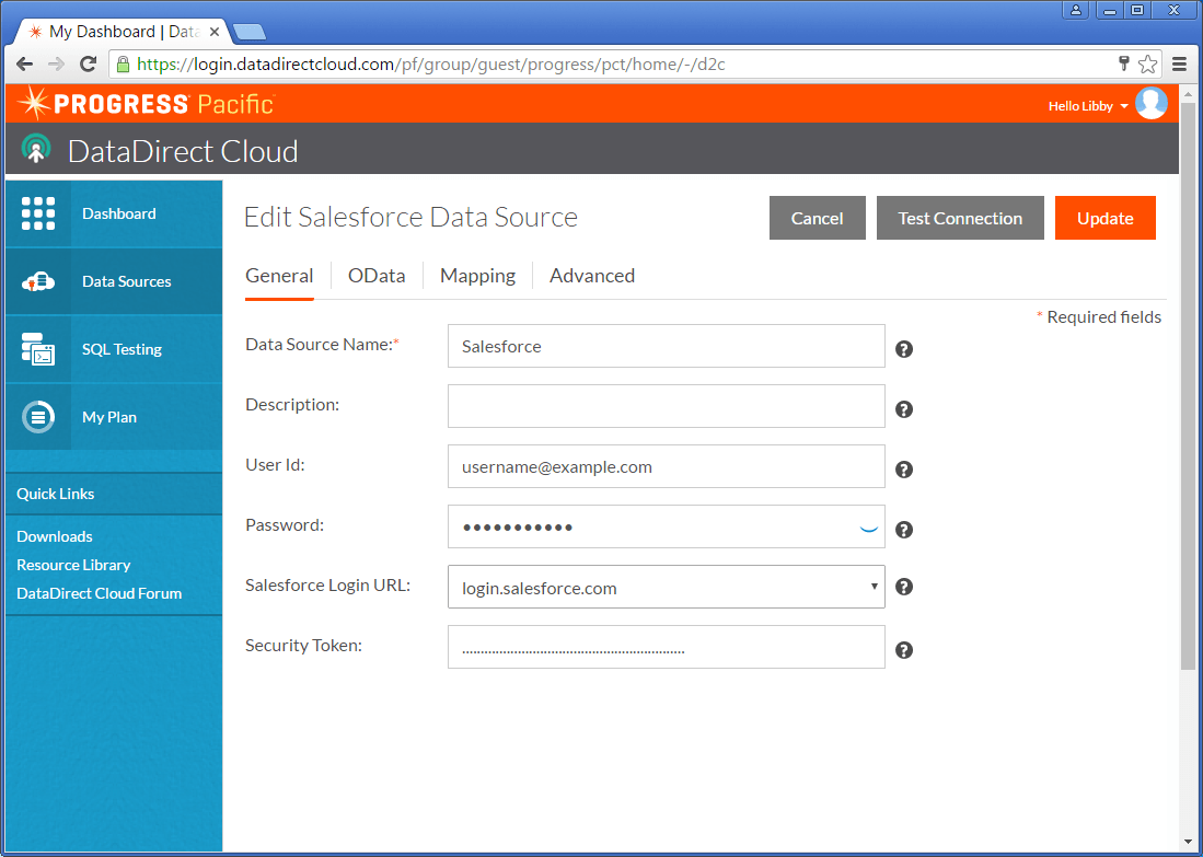 Configure your Salesforce data source in DataDirect Cloud