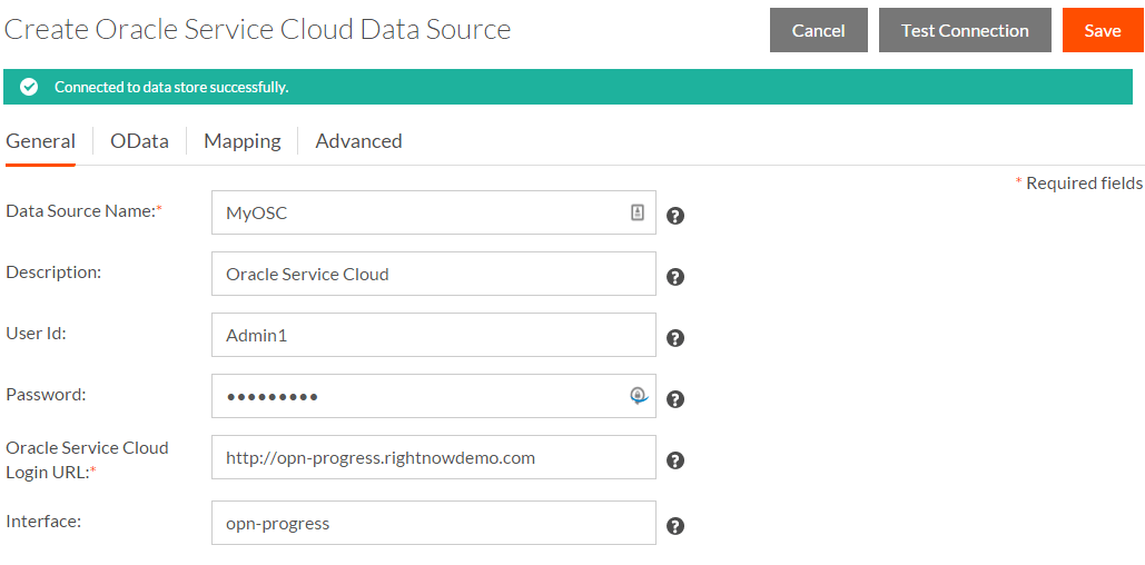 Create Connection to Oracle Service Cloud