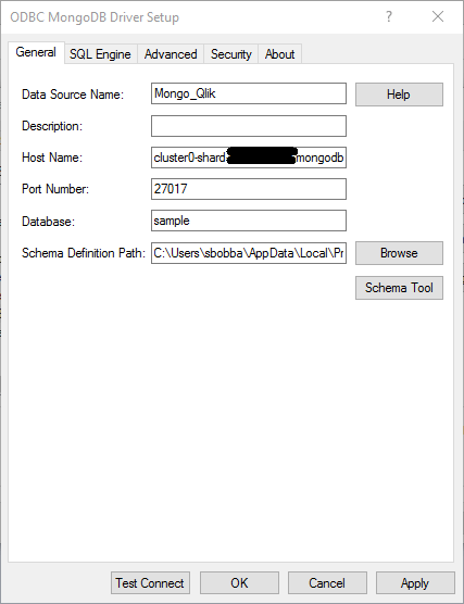 DataSource name, Host name, port, and database name
