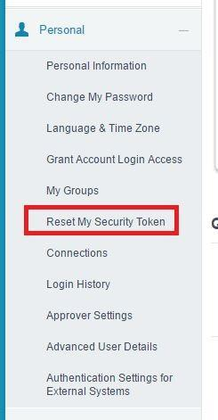 Expand 'Personal' to find 'Reset My Security Token'