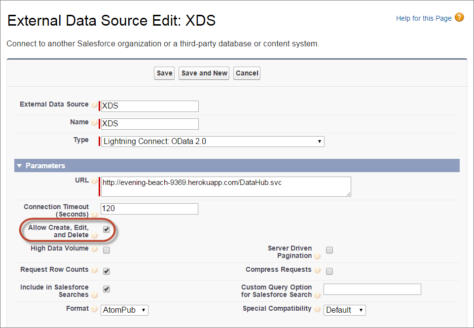 External Data Source Edit: XDS