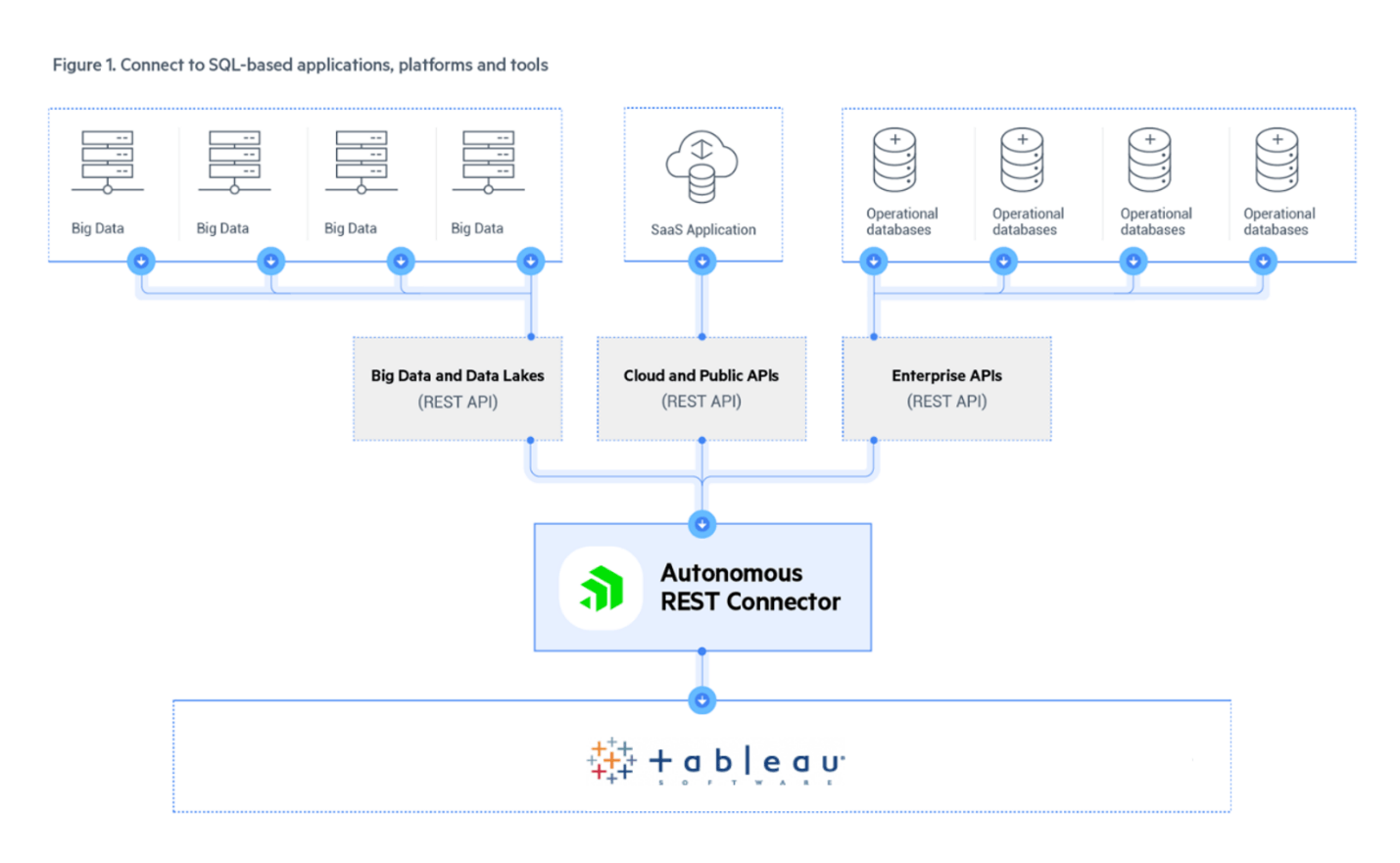 Figure 1: Autonomous REST Connector connects to SQL-based data warehouses, SaaS Cloud platforms, an all your operational data-driven tools on local servers