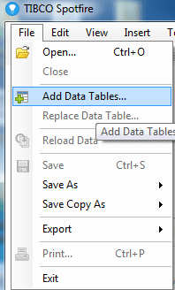 Click on File>Add Data Tables