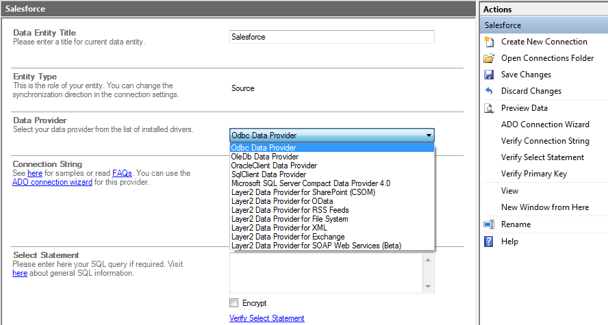 "Configure ""Source"" under Data Entities"