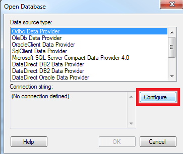 Select ODBC Data Provider and click Configure