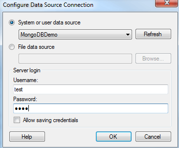 5)Select the ODBC DSN Source that you want to connect to and enter your credentials