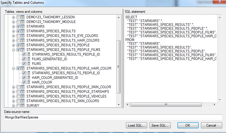 6)	Select the tables you want to import and create a Tibco Data Source Name