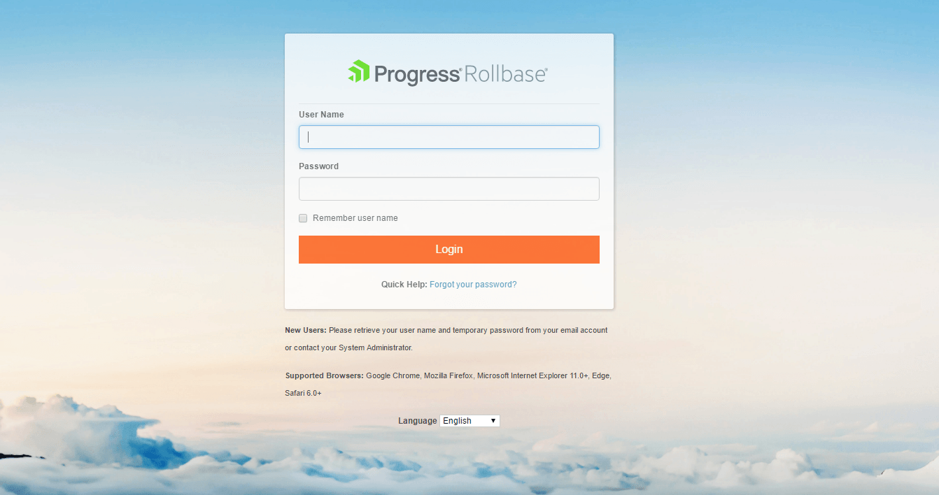 Private cloud login page