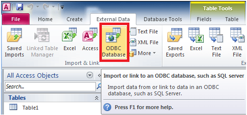 Click on the 'ODBC Database' button